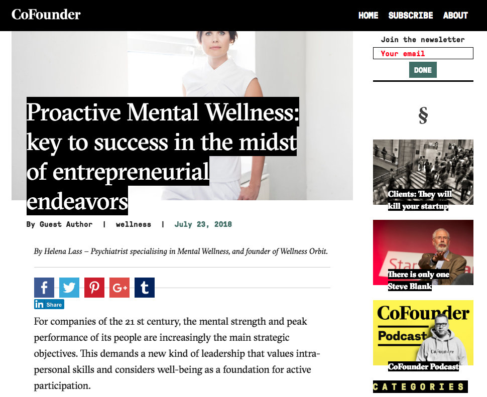 Proactive Mental Wellness - Key to success in the midst of entrepreneurial endeavors