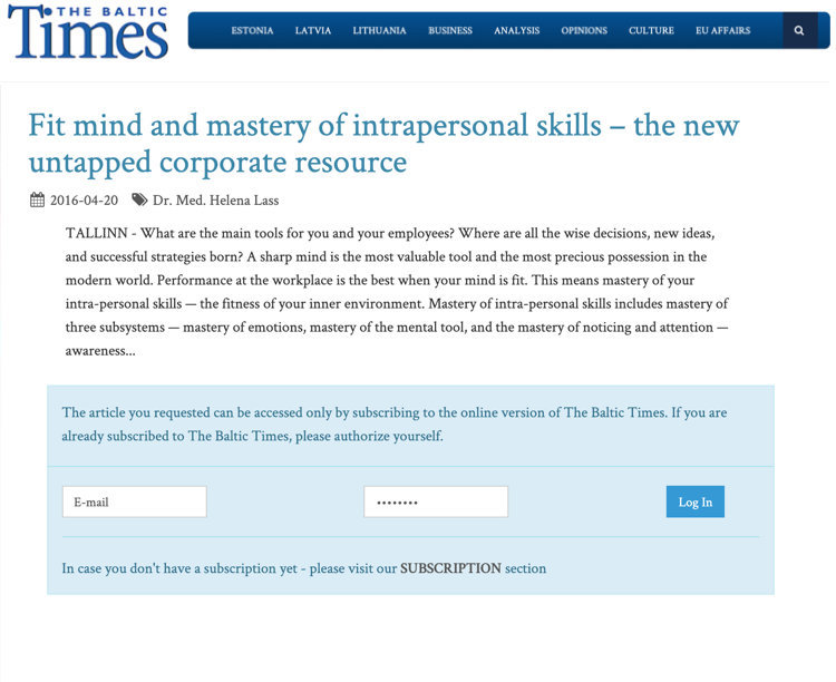 Fit mind and mastery of intrapersonal skills – the new untapped corporate resource