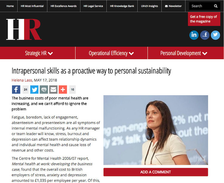 Intrapersonal skills as a proactive way to personal sustainability