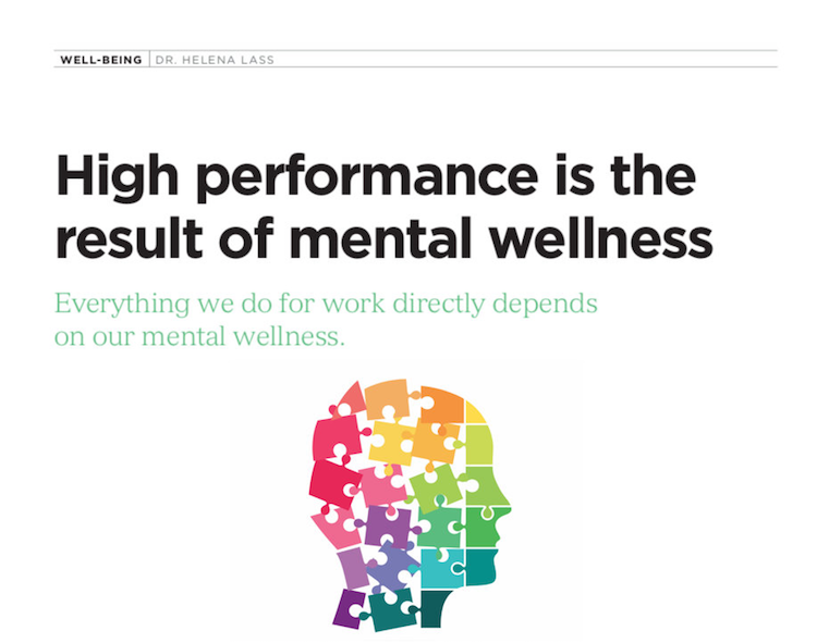 High performance is the result of mental wellness