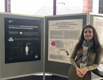 Emotion Revolution in Bergen, Norway 04/2018. Dr. Helena Lass with her poster. Photo by Ingvar Villido